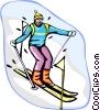Vector Clipart graphic  of a slalom skiing