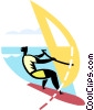 Man wind surfing Vector Clip Art image