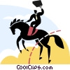Vector Clipart image  of a Businessman equestrian jumping