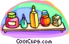 Vector Clip Art graphic  of a shelf of perfumes
