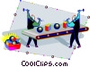 Vector Clipart graphic  of an assembly line
