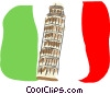 Leaning Tower of Pisa Vector Clip Art graphic