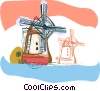 Eurosketch style, windmills, Netherlands Vector Clipart picture