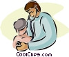 Vector Clipart image  of a doctor with young patient