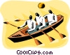 Vector Clip Art image  of a men in a rowboat