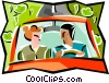 Vector Clipart image  of a man and woman in a car