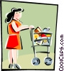 Vector Clip Art image  of a woman with a shopping cart
