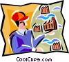 Vector Clip Art graphic  of a man with factories