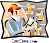 Vector Clipart graphic  of a man reviewing drilling reports