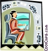 man working on a computer while traveling Vector Clipart graphic
