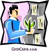 Vector Clip Art picture  of a balancing environmental concerns