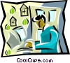 Vector Clipart image  of a man working at computer