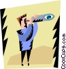 Vector Clip Art graphic  of a man looking through a
