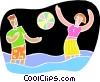 Chalkboard style, a day at the beach Vector Clipart illustration