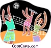 volleyball at the beach Vector Clip Art picture