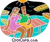 young couple at the beach Vector Clip Art picture