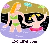 a day at the beach, swimming Vector Clipart picture