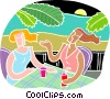 conversation and cool drinks Vector Clipart image