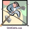 balancing business man Vector Clipart picture