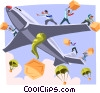 men throwing boxes from an airplane Vector Clipart picture