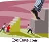 business metaphors, taking big steps Vector Clipart graphic