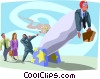 man with briefcase launched from canon Vector Clip Art image