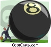 Vector Clip Art graphic  of a man rolling an eight-ball