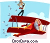 Vector Clip Art image  of a man throwing leaflets from an