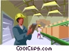 factory workers checking goods on a conveyor belt Vector Clipart picture