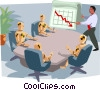 falling sales sitting around the boardroom table Vector Clipart picture