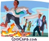 walking on burning coals Vector Clipart graphic