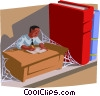Vector Clipart graphic  of an at his desk overgrown with cobwebs