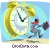 Vector Clipart graphic  of a clock chasing a man with a briefcase