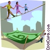 Family walks a financial tightrope Vector Clipart illustration