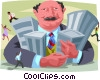 real estate tycoon holding his properties Vector Clipart image