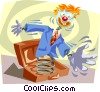Jack-in-the-box springs into action Vector Clip Art graphic