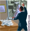 sending paper plane messages from office building Vector Clipart graphic
