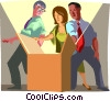 Vector Clip Art graphic  of a office workers peering into a