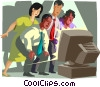office workers watching television news report Vector Clipart picture