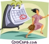 business metaphors, chasing a schedule Vector Clipart illustration