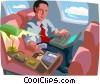 Vector Clipart graphic  of a man traveling in airplane