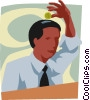 man with a coin slot in his head Vector Clipart illustration