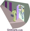 Vector Clipart graphic  of a man opens a door with action inside