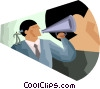 speaking through a megaphone, projecting a message Vector Clipart graphic