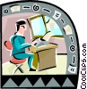 Vector Clipart graphic  of a man working at a desk