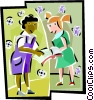 Vector Clip Art image  of a girls comparing assignments