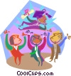 Vector Clip Art image  of a graduate celebrating with friends