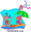 day at the beach Vector Clipart graphic
