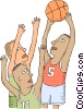 Vector Clipart graphic  of a Basketball player going for a