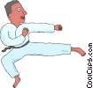Vector Clipart illustration  of a Martial artist performing kick